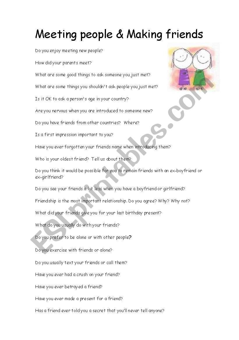 How to Make Friends Worksheet Meeting People and Making Friends Conversation Questions