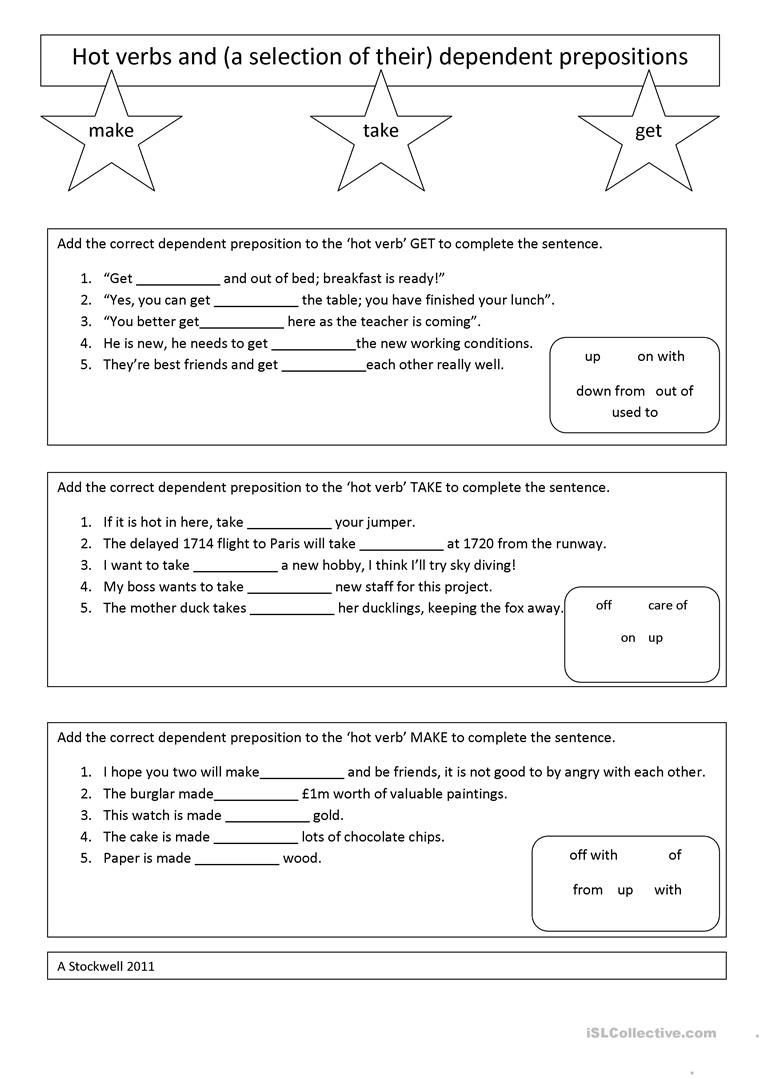 How to Make Friends Worksheet Take Make and Get Dependent Preposition Worksheet
