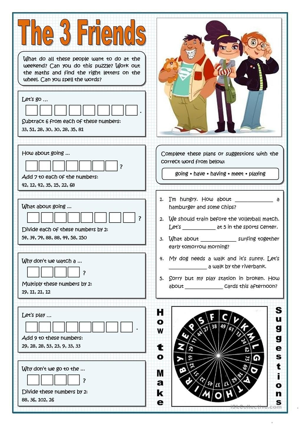How to Make Friends Worksheet the Three Friends Making Suggestions