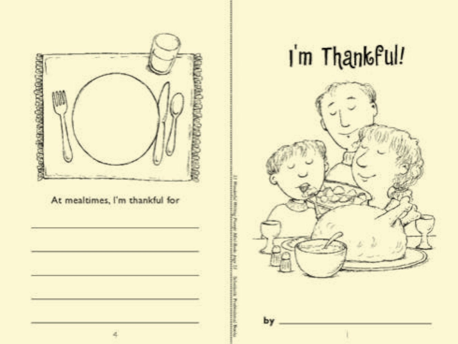 I Am Thankful for Worksheet Minibook I M Thankful