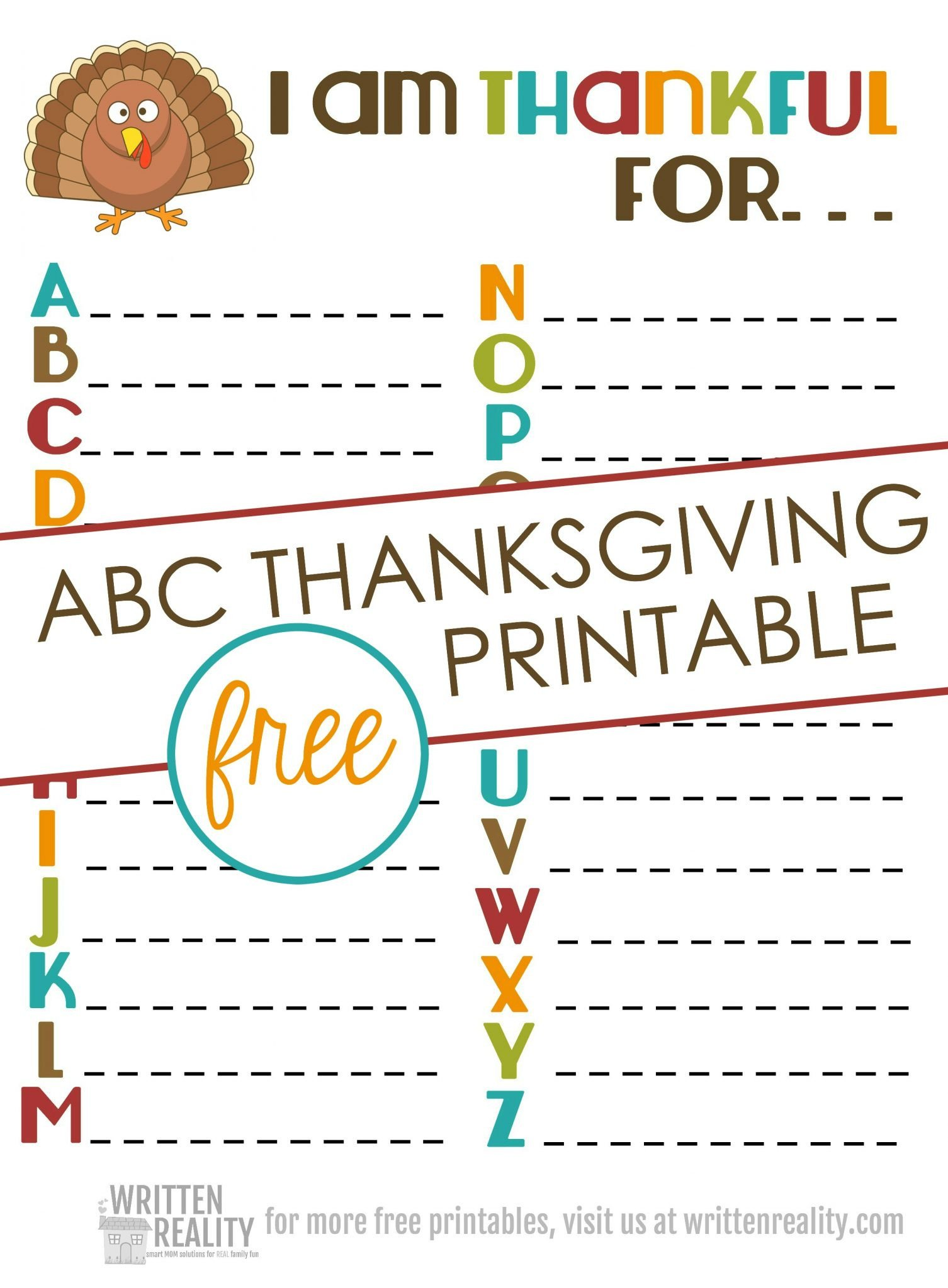 I Am Thankful for Worksheet Thankful Abcs Printable is Perfect for Thanksgiving