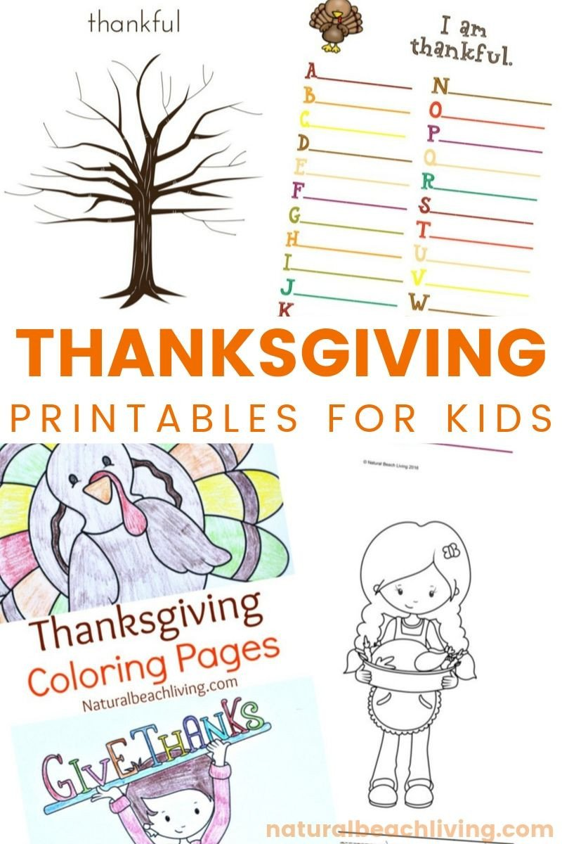 I Am Thankful for Worksheet Thanksgiving Printables for Kids Natural Beach Living