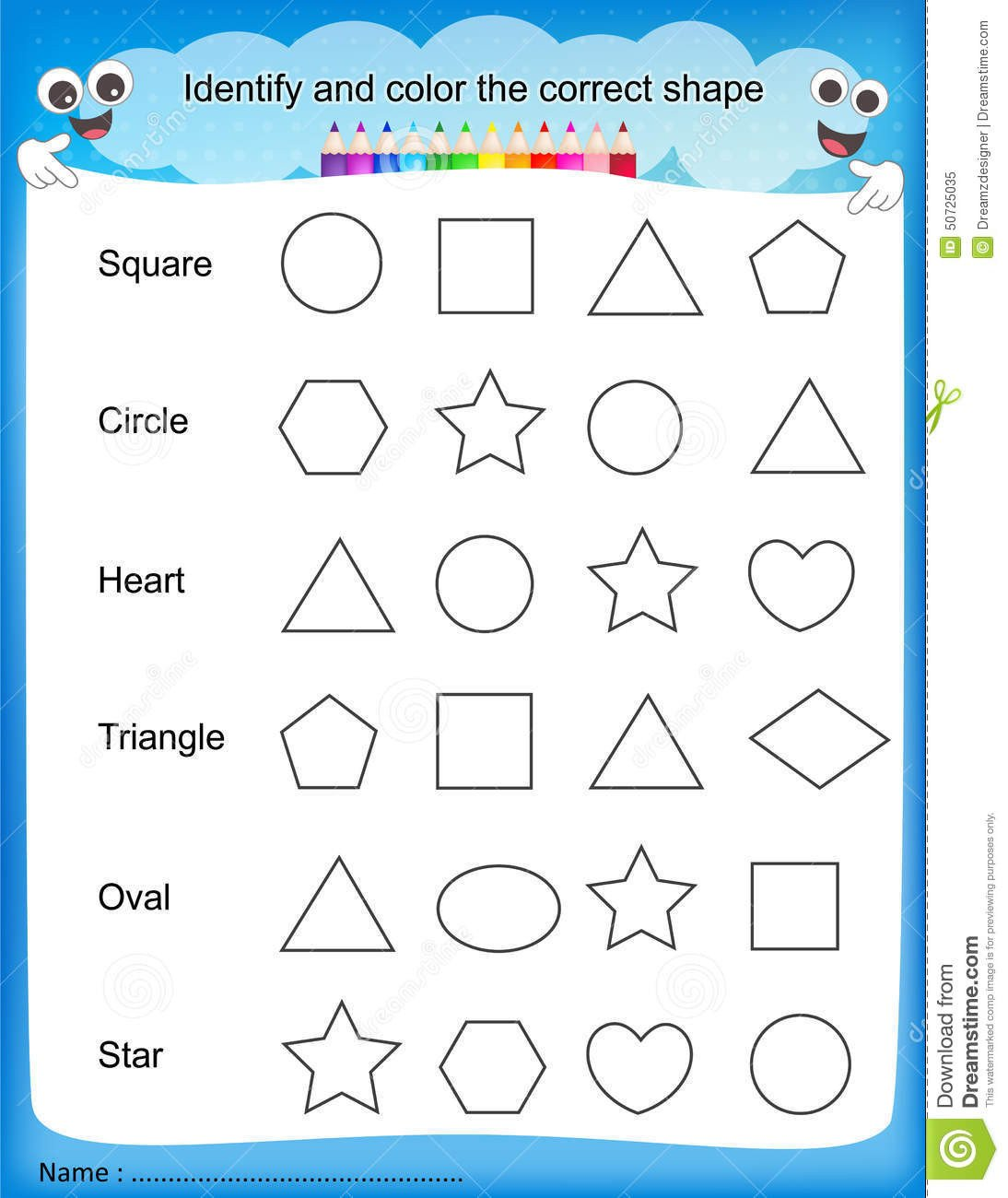 Identifying Shapes Worksheets Identify and Color the Correct Shape Worksheet Stock Vector