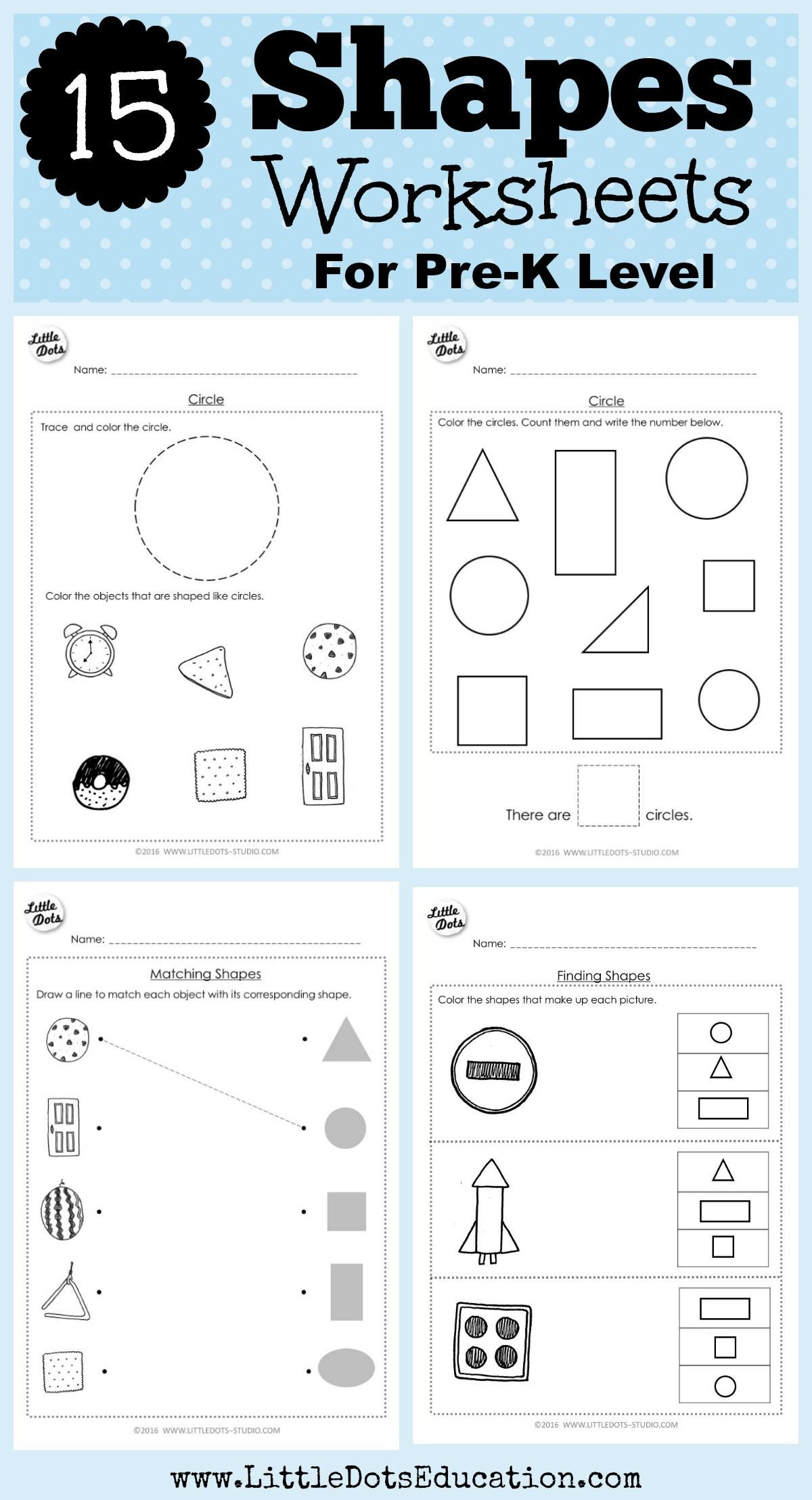 Identifying Shapes Worksheets Pre K Math Shapes Worksheets and Activities