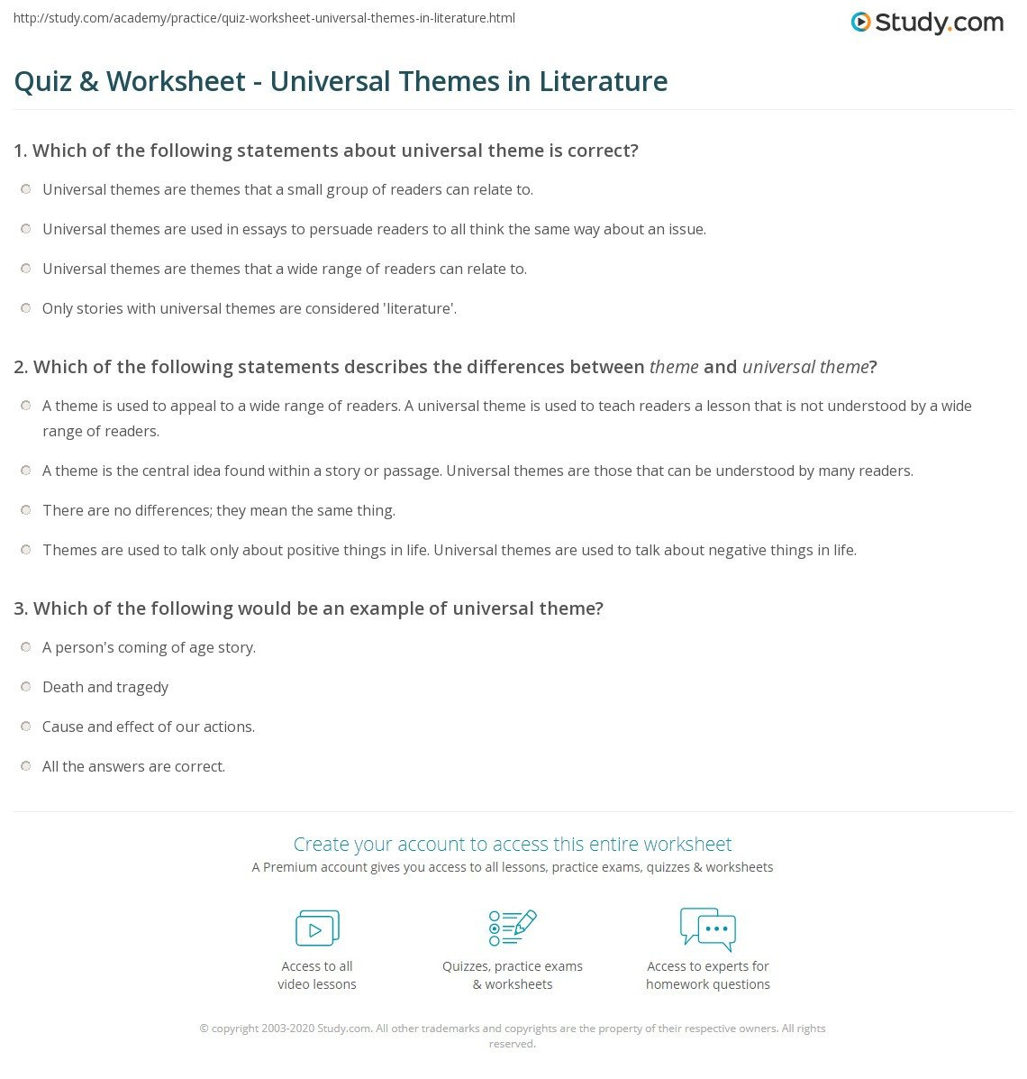 Identifying theme Worksheets Answers Quiz & Worksheet Universal themes In Literature