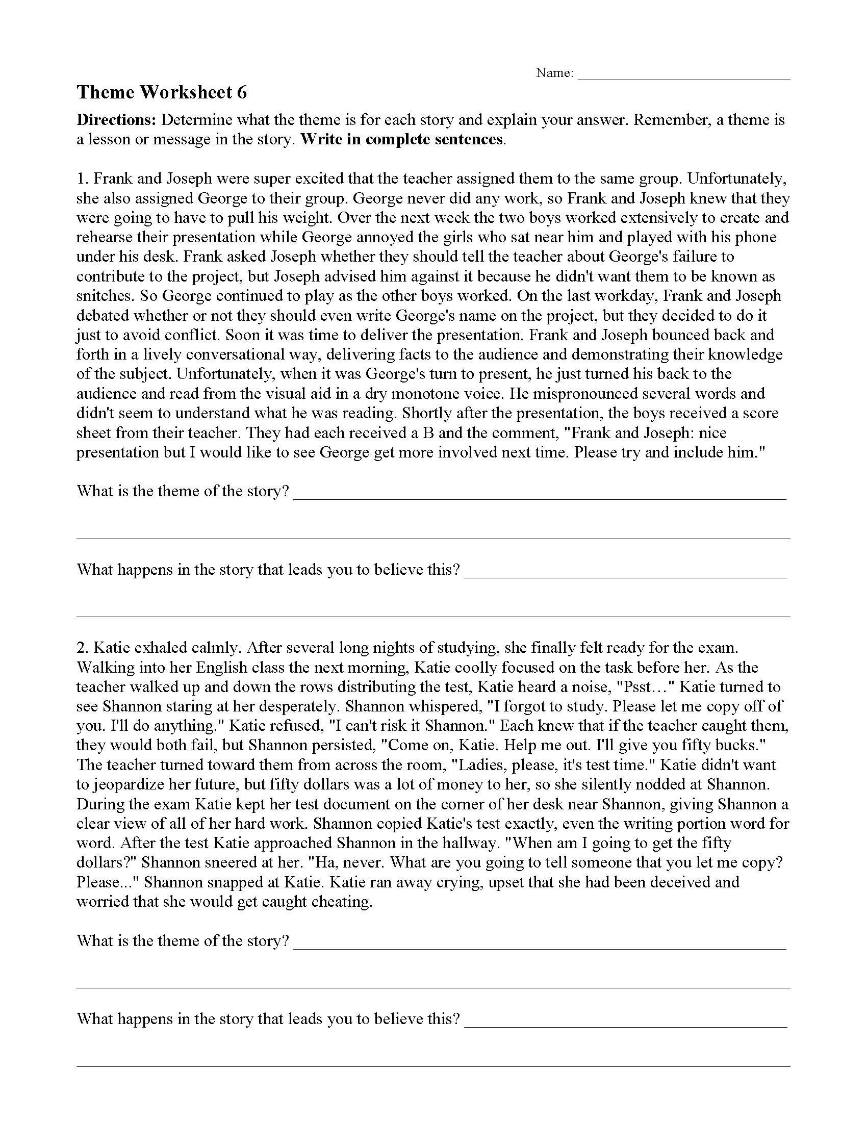 Identifying theme Worksheets Answers theme or Author S Message Worksheets