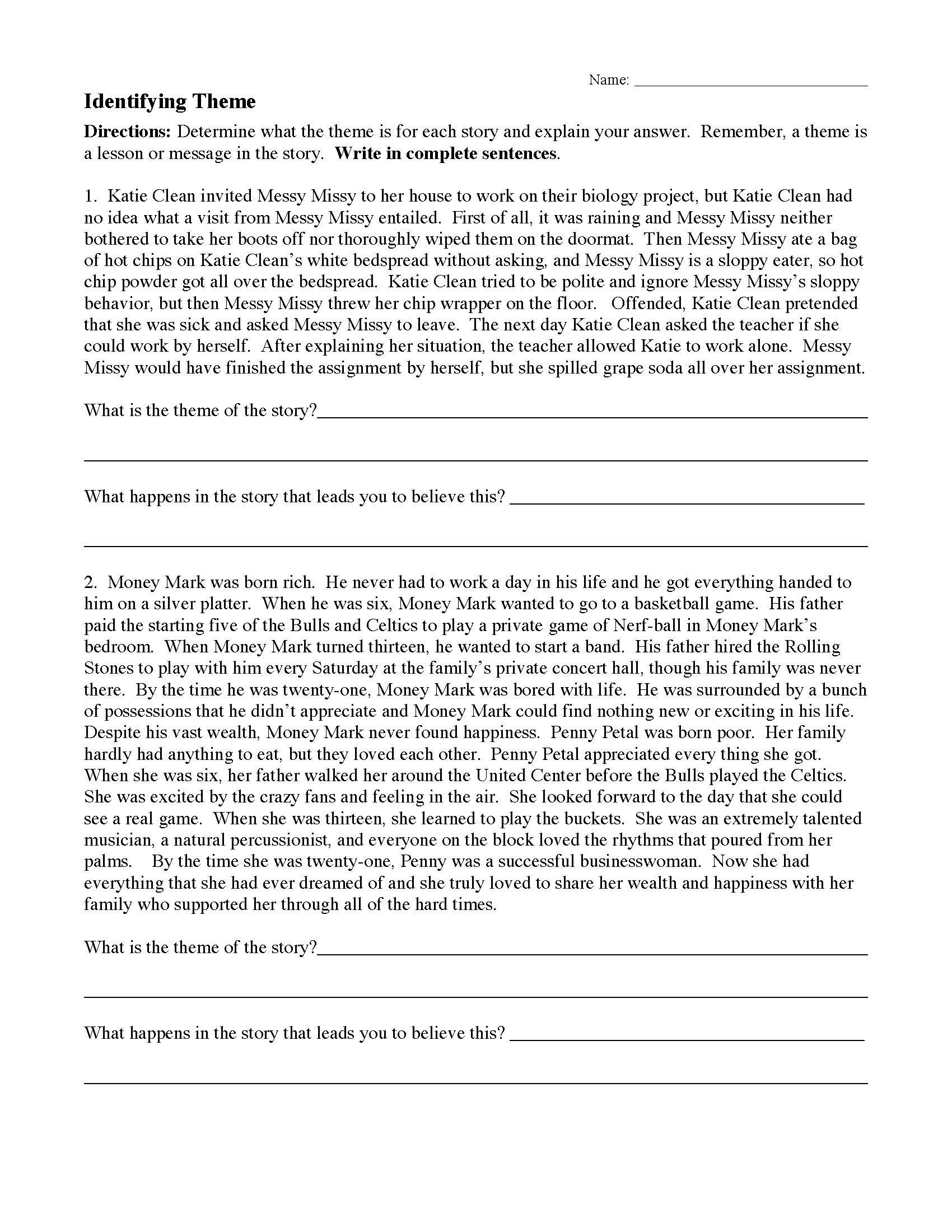 Identifying theme Worksheets Answers theme Worksheet 1