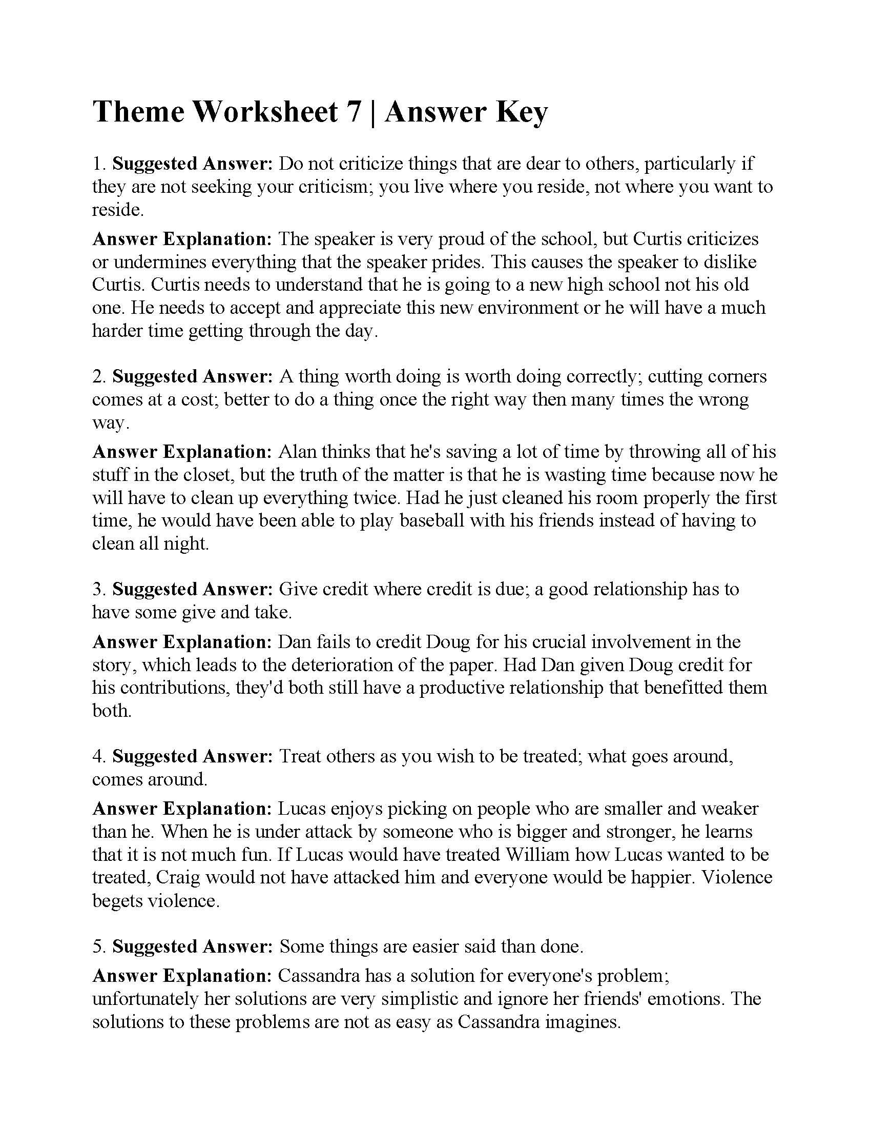 Identifying theme Worksheets Answers theme Worksheet 7