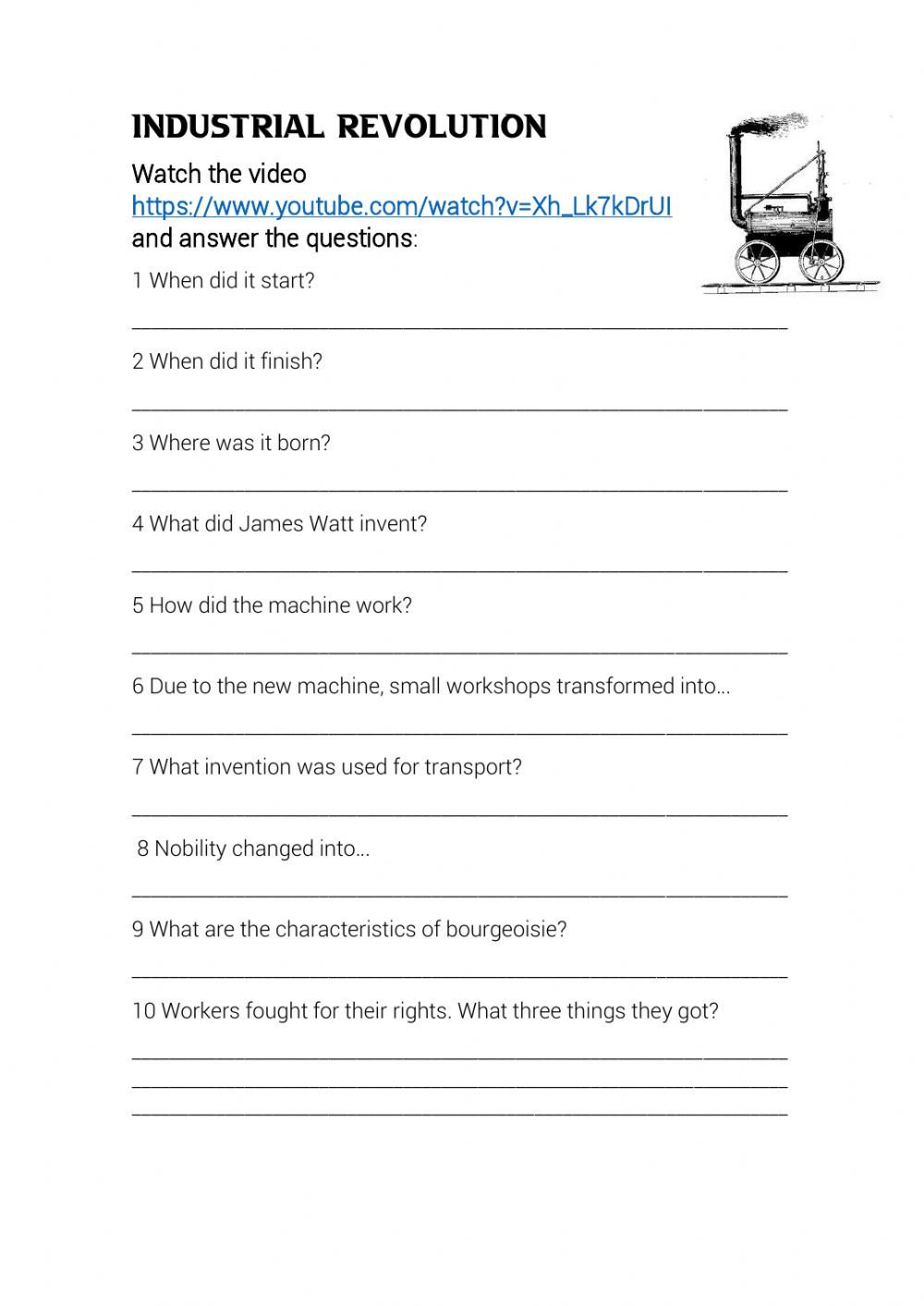 Industrial Revolution Worksheet Pdf Industrial Revolution Interactive Worksheet