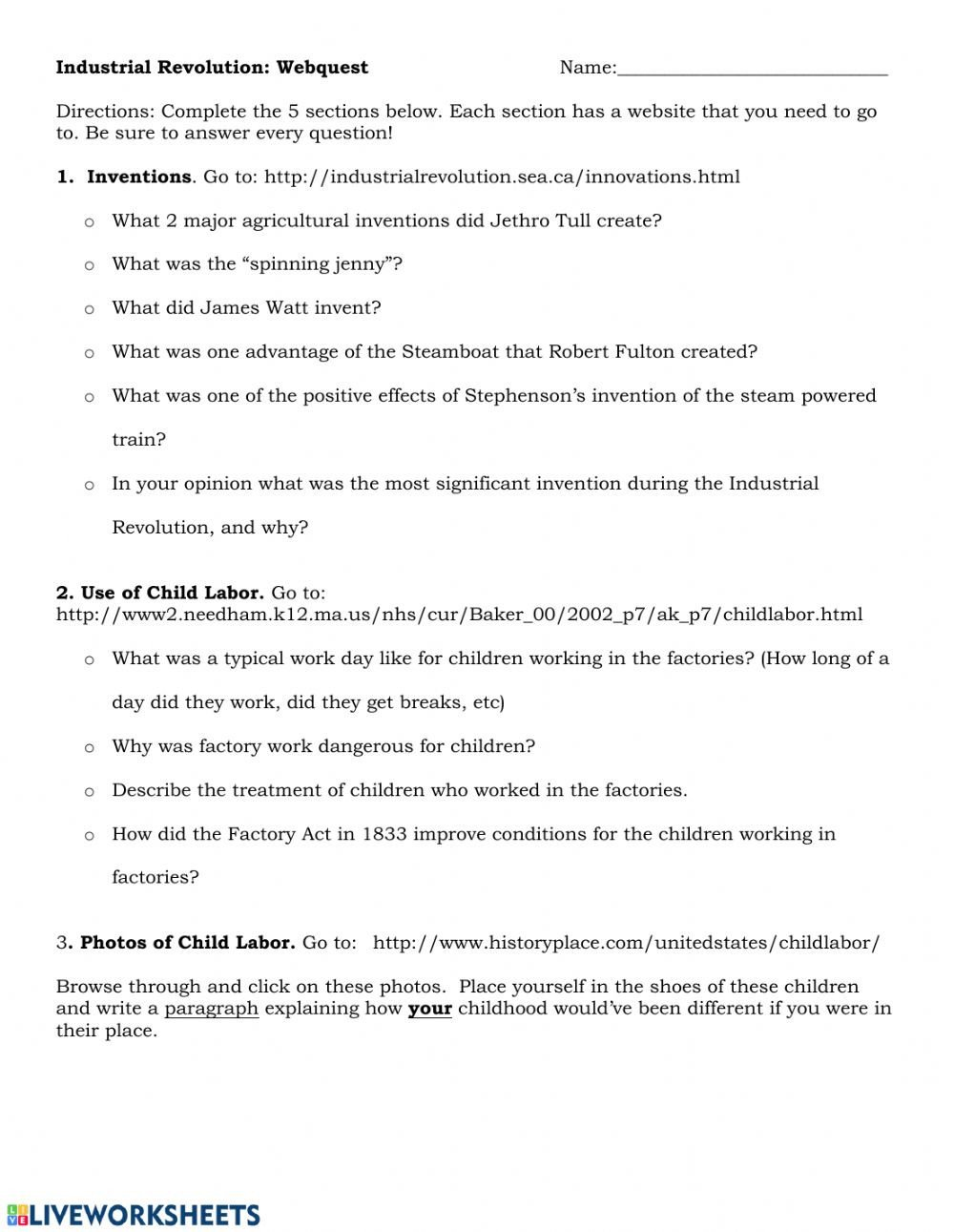 Industrial Revolution Worksheet Pdf Industrial Revolution Webquest Interactive Worksheet