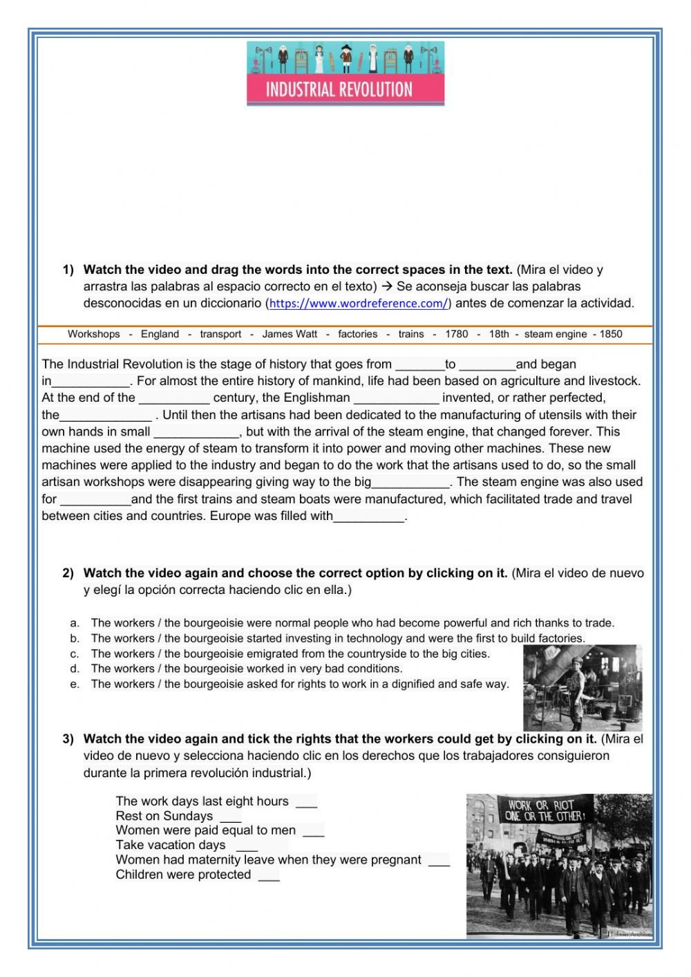 Industrial Revolution Worksheet Pdf the First Industrial Revolution Interactive Worksheet