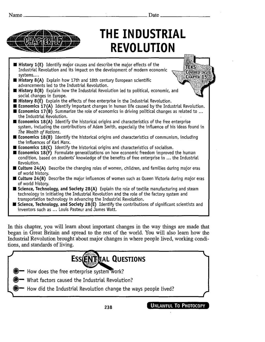 Industrial Revolution Worksheet Pdf the Industrial Revolution Pdf Free Download