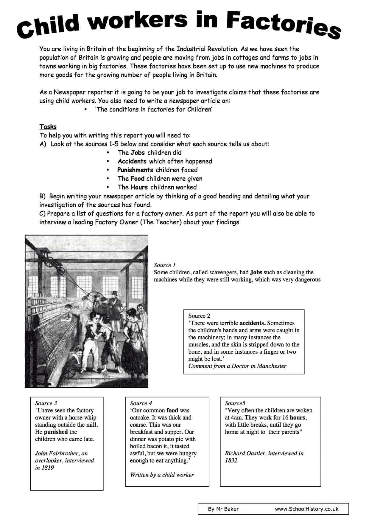 Industrial Revolution Worksheets Pdf Child Workers In Factories During Industrial Revolution