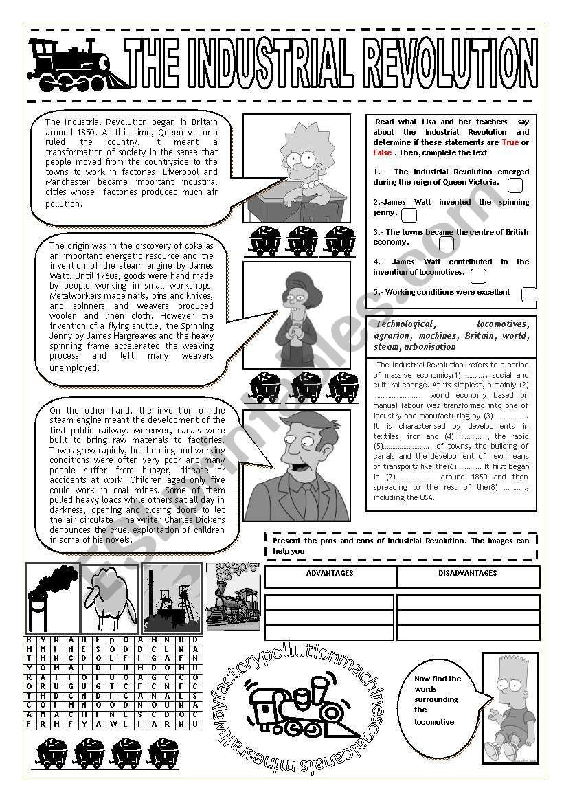 Industrial Revolution Worksheets Pdf Industrial Revolution and the Simpsons Esl Worksheet by