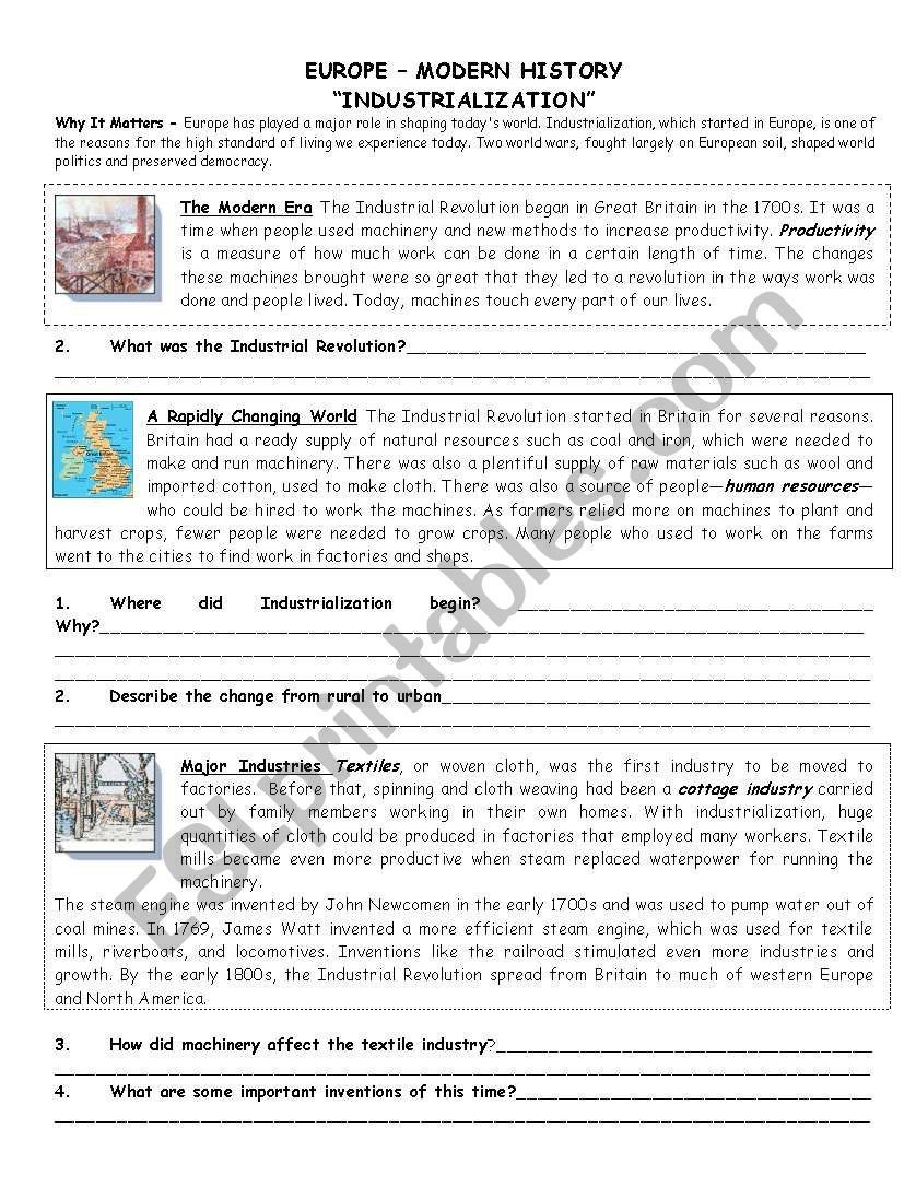 Industrial Revolution Worksheets Pdf Industrial Revolution Reading Esl Worksheet by Aebbeler