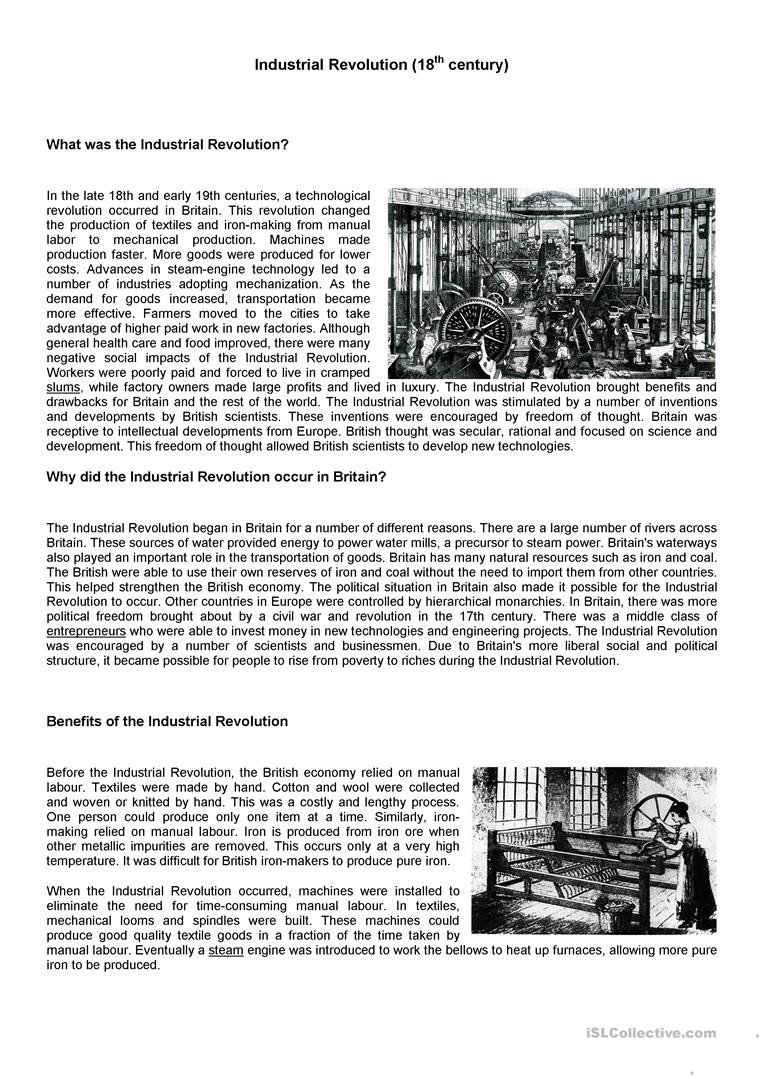 industrial revolution social stu s reading prehension exercises 1