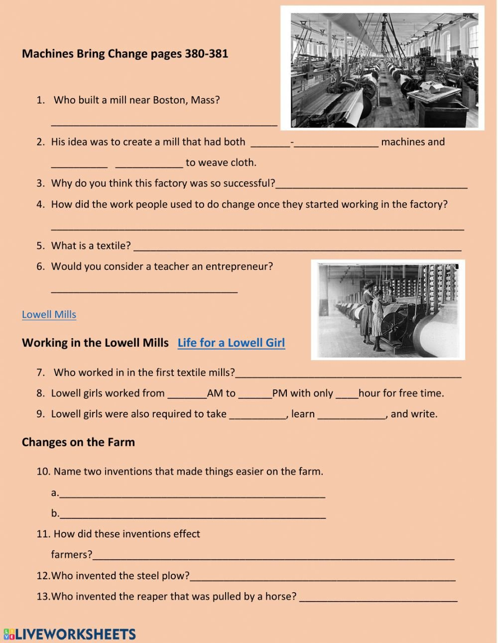 Industrial Revolution Worksheets Pdf Machines In the Industrial Revolution Interactive Worksheet