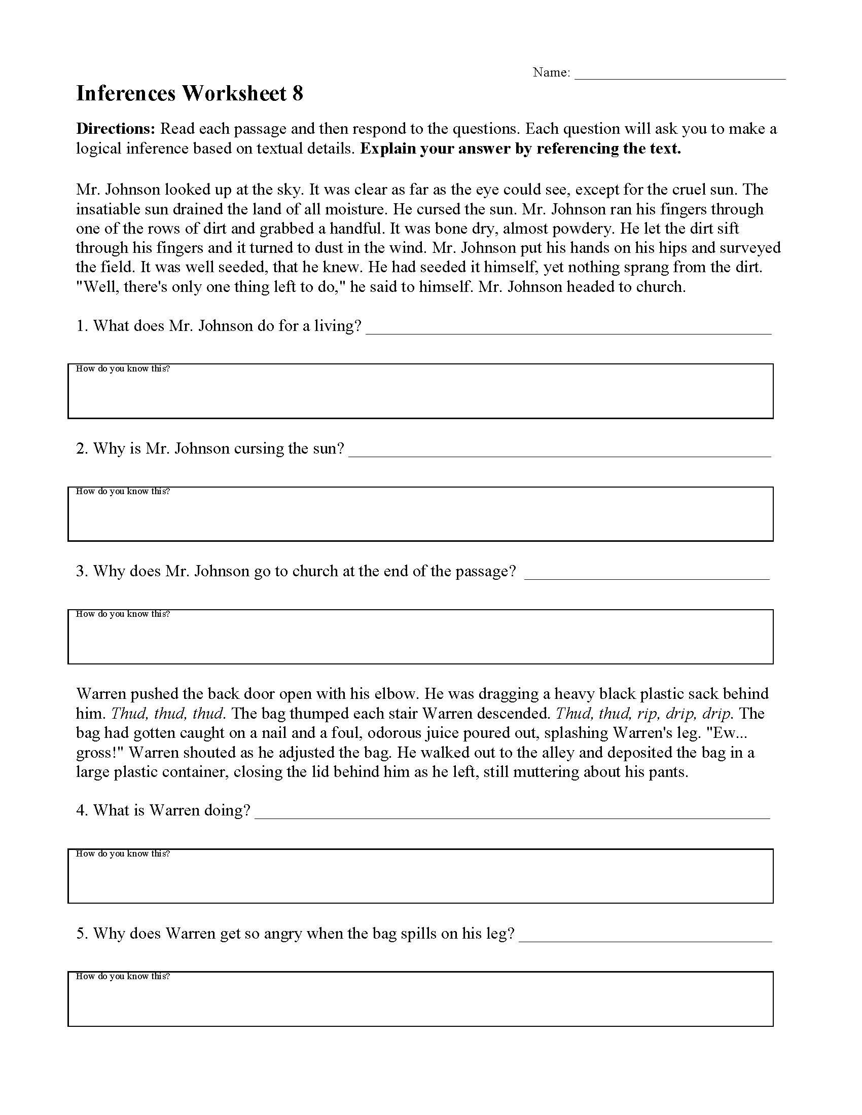 Inferencing Worksheets 4th Grade Inferences Worksheets