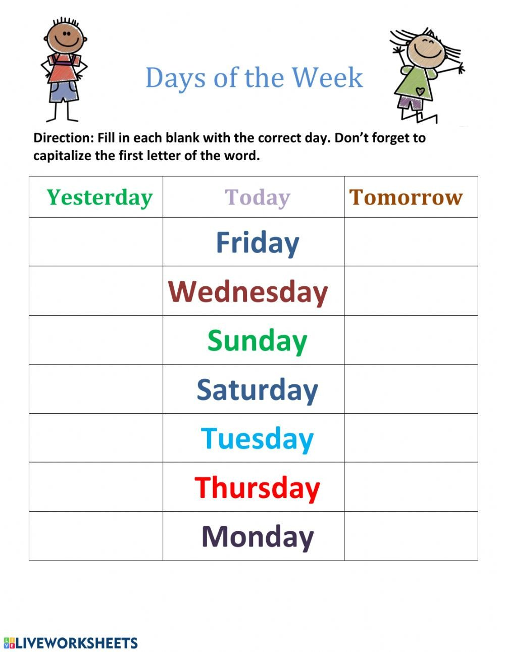 Inflected Endings Worksheets Days Of the Week Interactive Worksheet