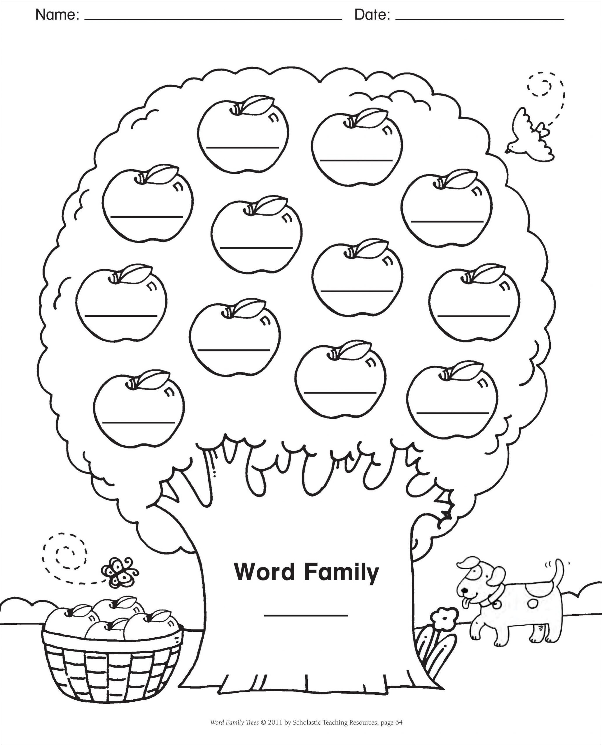 Ing Word Family Worksheets Blank Template Word Family Tree