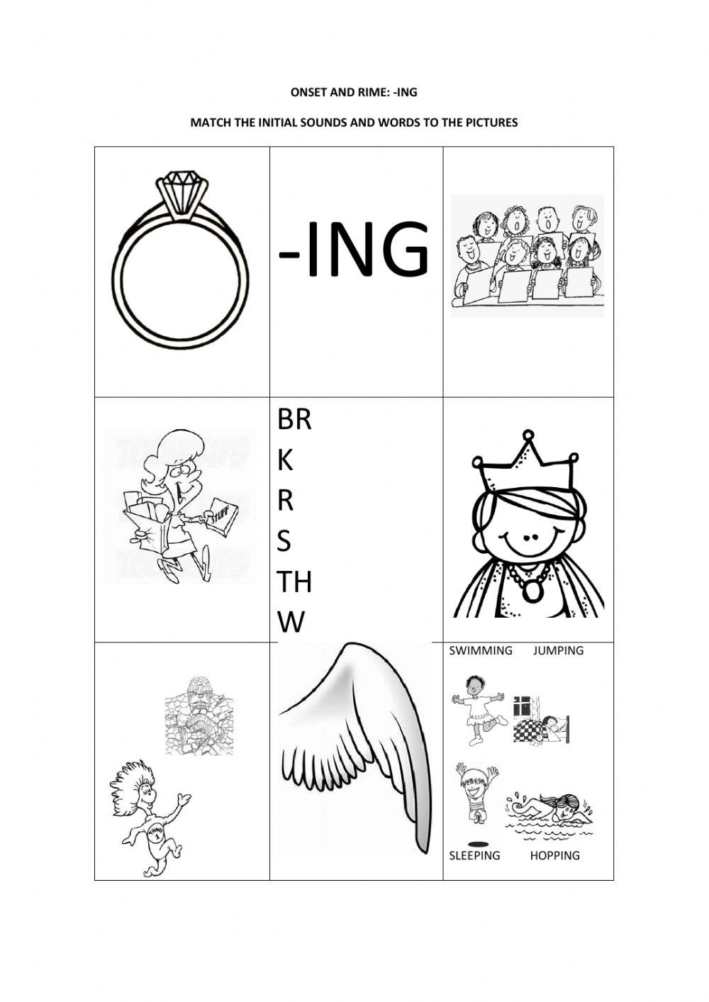 Ing Word Family Worksheets Ing Worksheet Black and White Interactive Worksheet