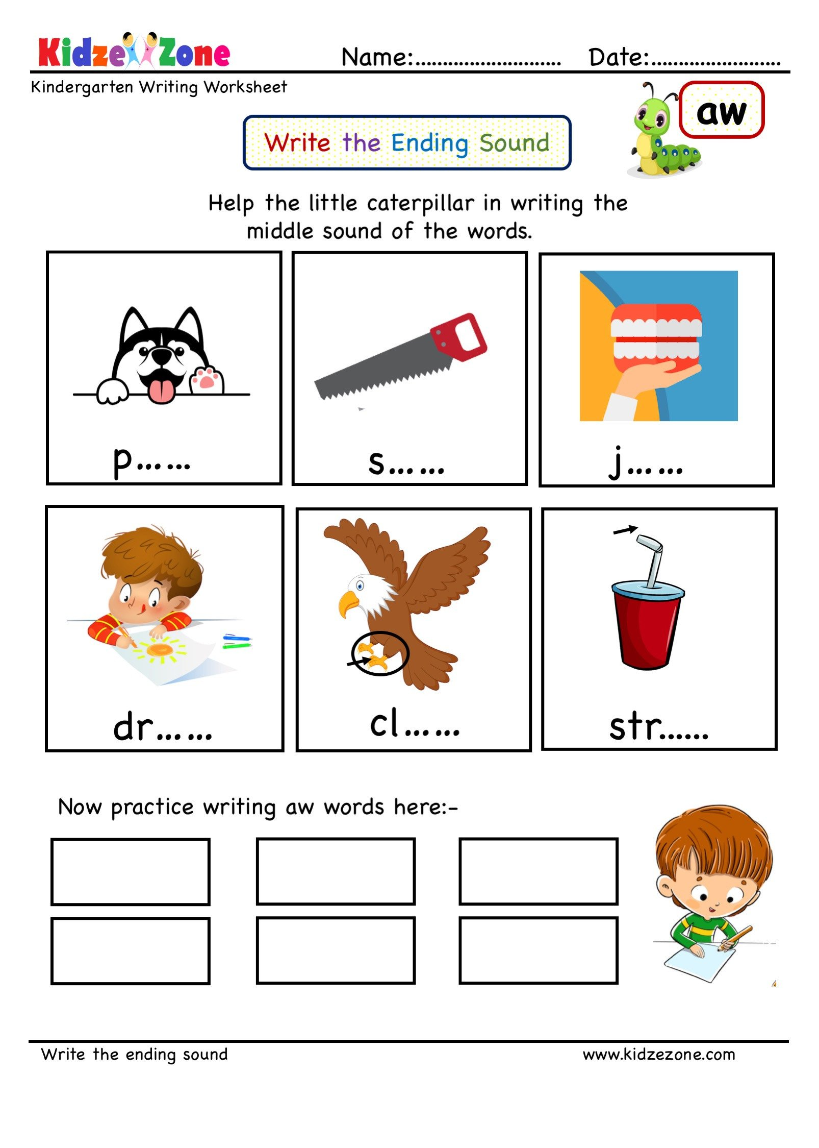 Ing Word Family Worksheets Kindergarten Worksheets Aw Word Family Ending sound
