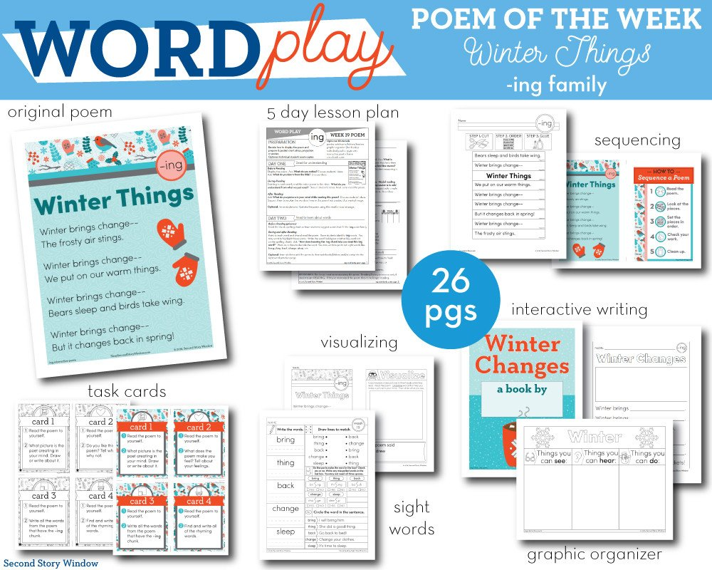 Ing Word Family Worksheets Winter Things Ing Word Family Poem Of the Week Fluency Poem