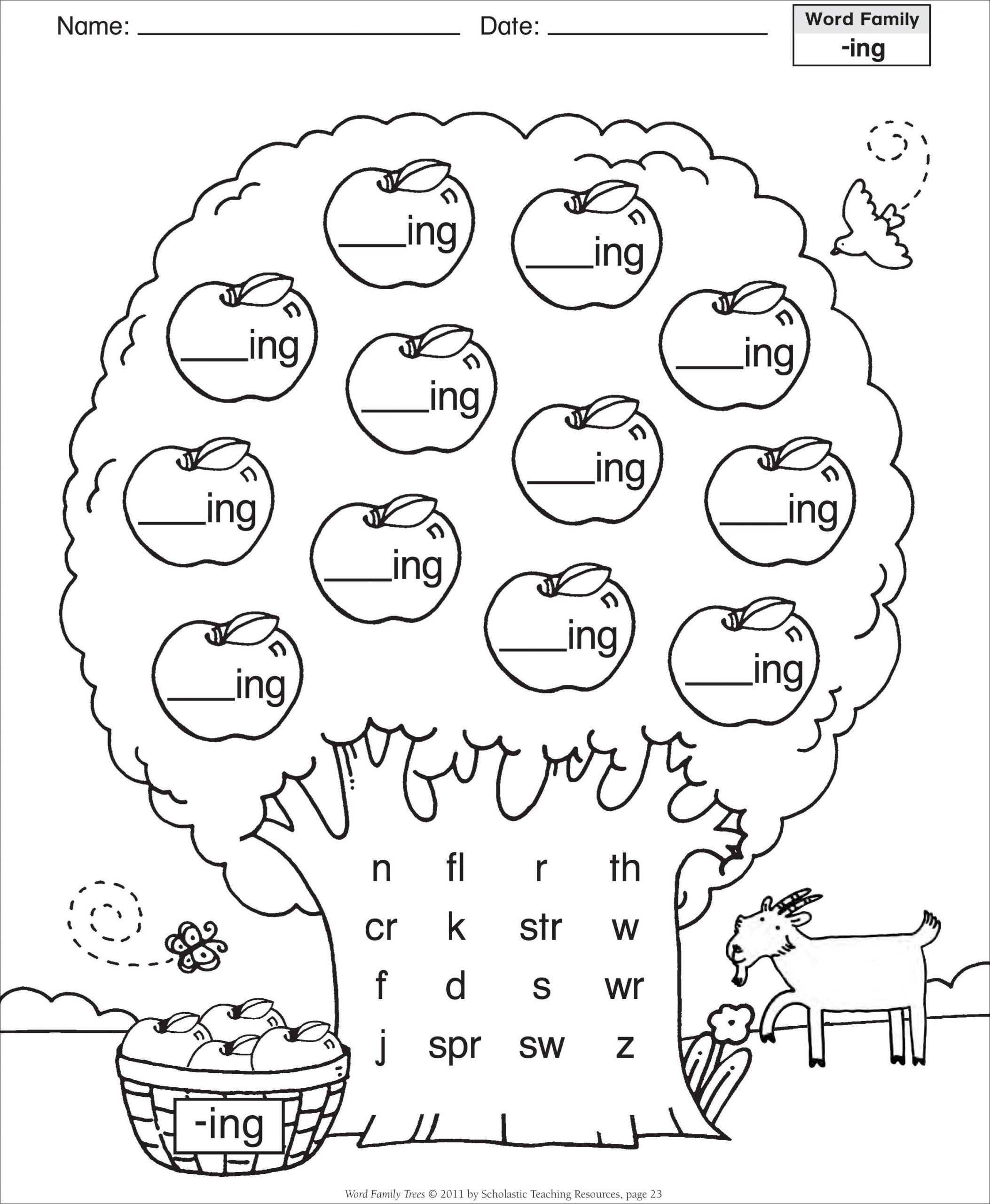 Ing Word Family Worksheets Word Family Worksheets