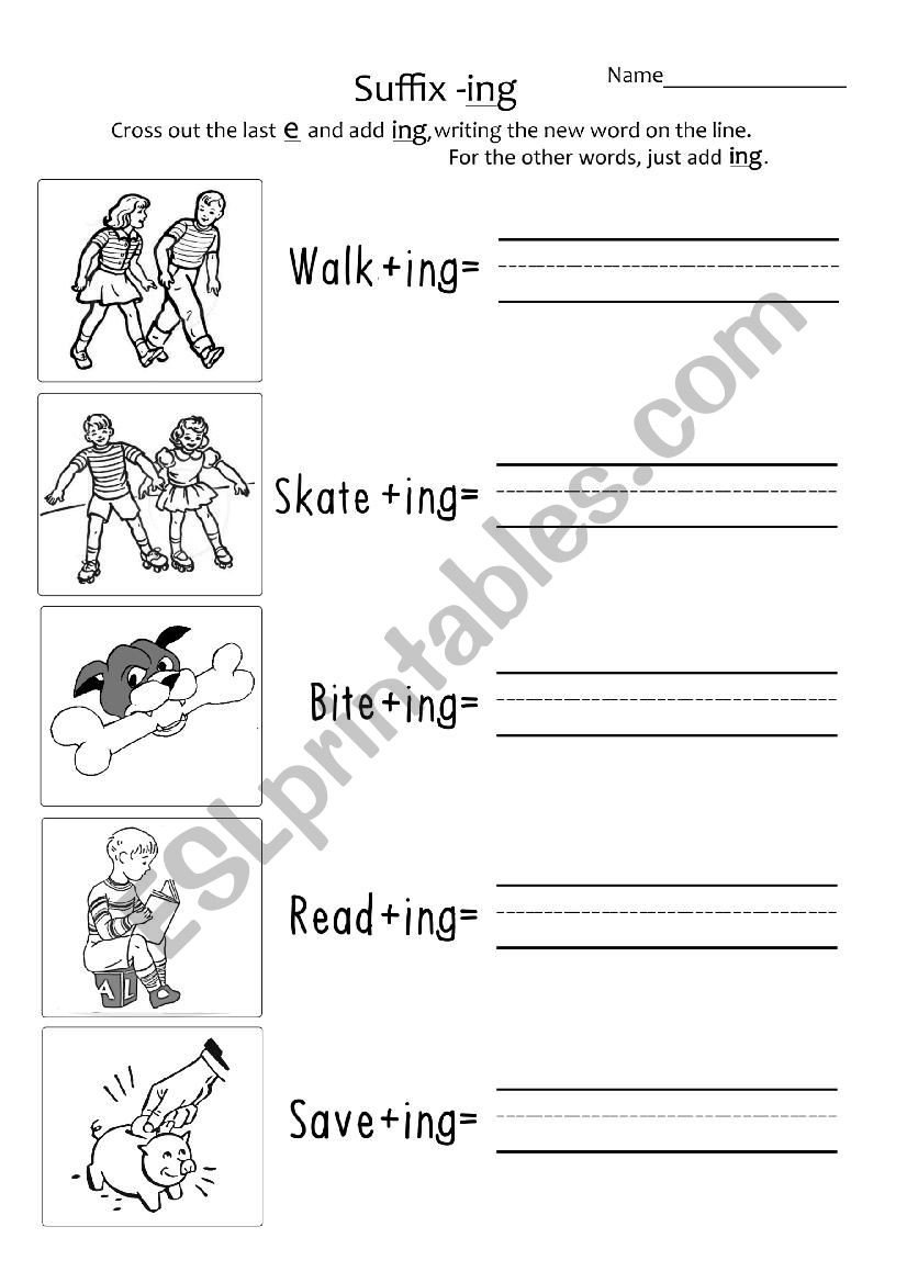 Ing Worksheets Grade 1 Suffix ´ Ing´ Year 1 2 Esl Worksheet by Taraericson