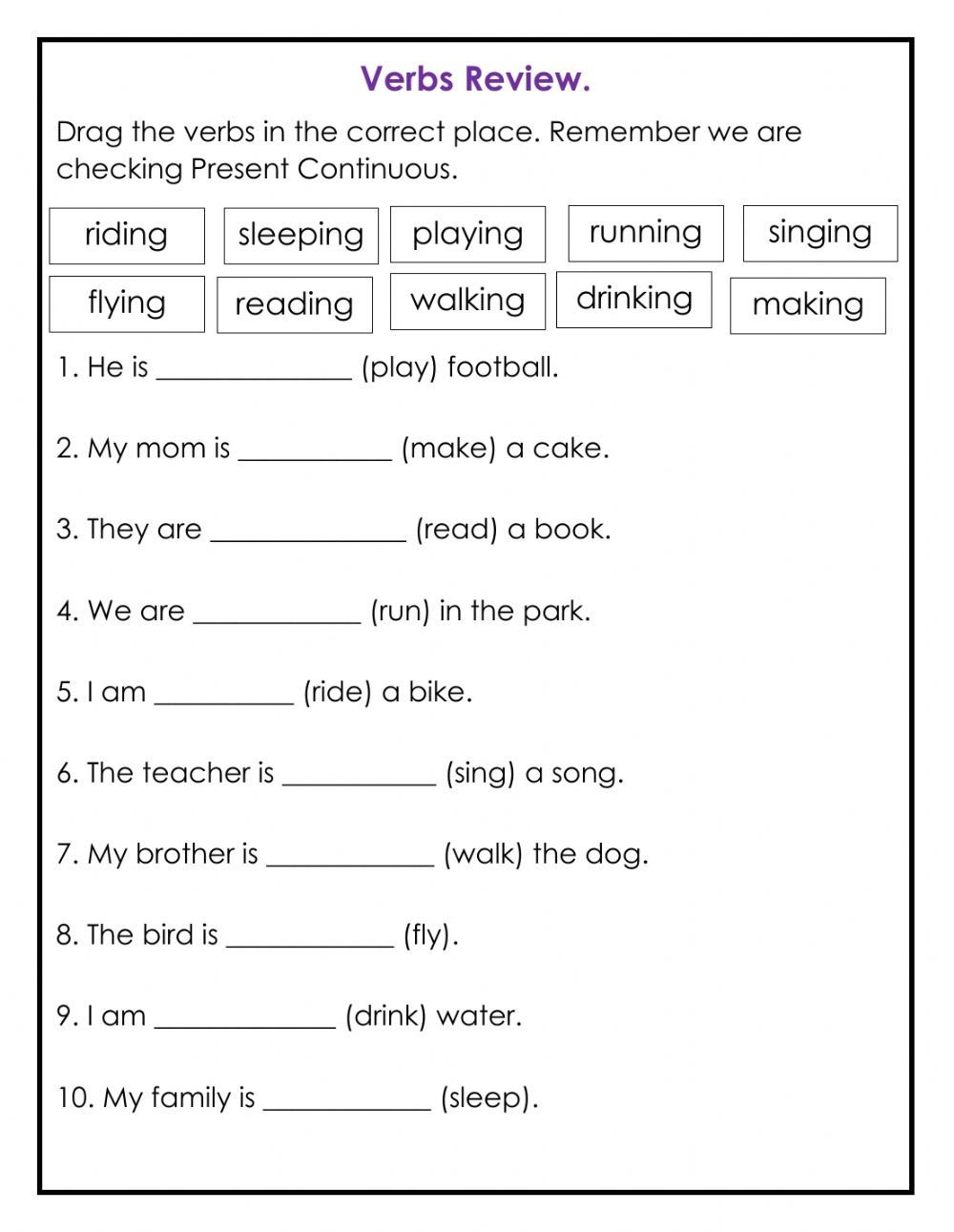 Ing Worksheets Grade 1 Verbs In Ing Review Interactive Worksheet