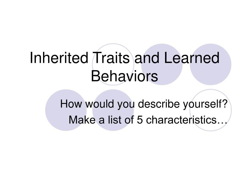 Inherited Traits Worksheet Ppt Inherited Traits and Learned Behaviors Powerpoint
