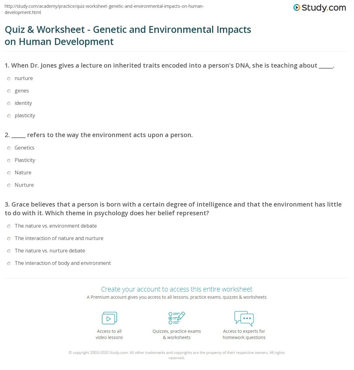 Inherited Traits Worksheet Quiz & Worksheet Genetic and Environmental Impacts On