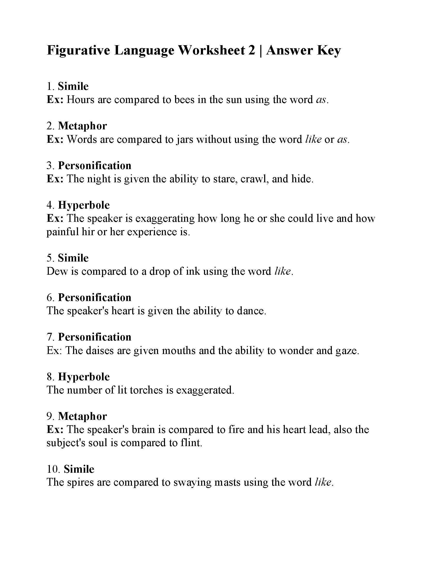 Integrated Physics and Chemistry Worksheets This is the Answer Key for the Figurative Language Worksheet