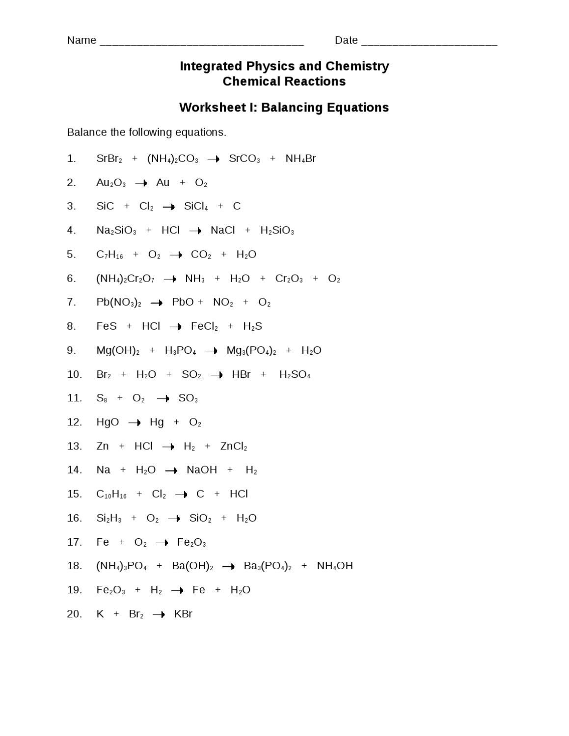Integrated Physics and Chemistry Worksheets Ws I Balancing Equations1 by Hc Munications issuu