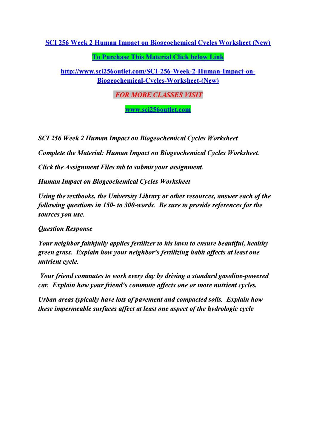 Integrated Science Cycles Worksheet Answers Sci 256 Week 2 Human Impact On Biogeochemical Cycles
