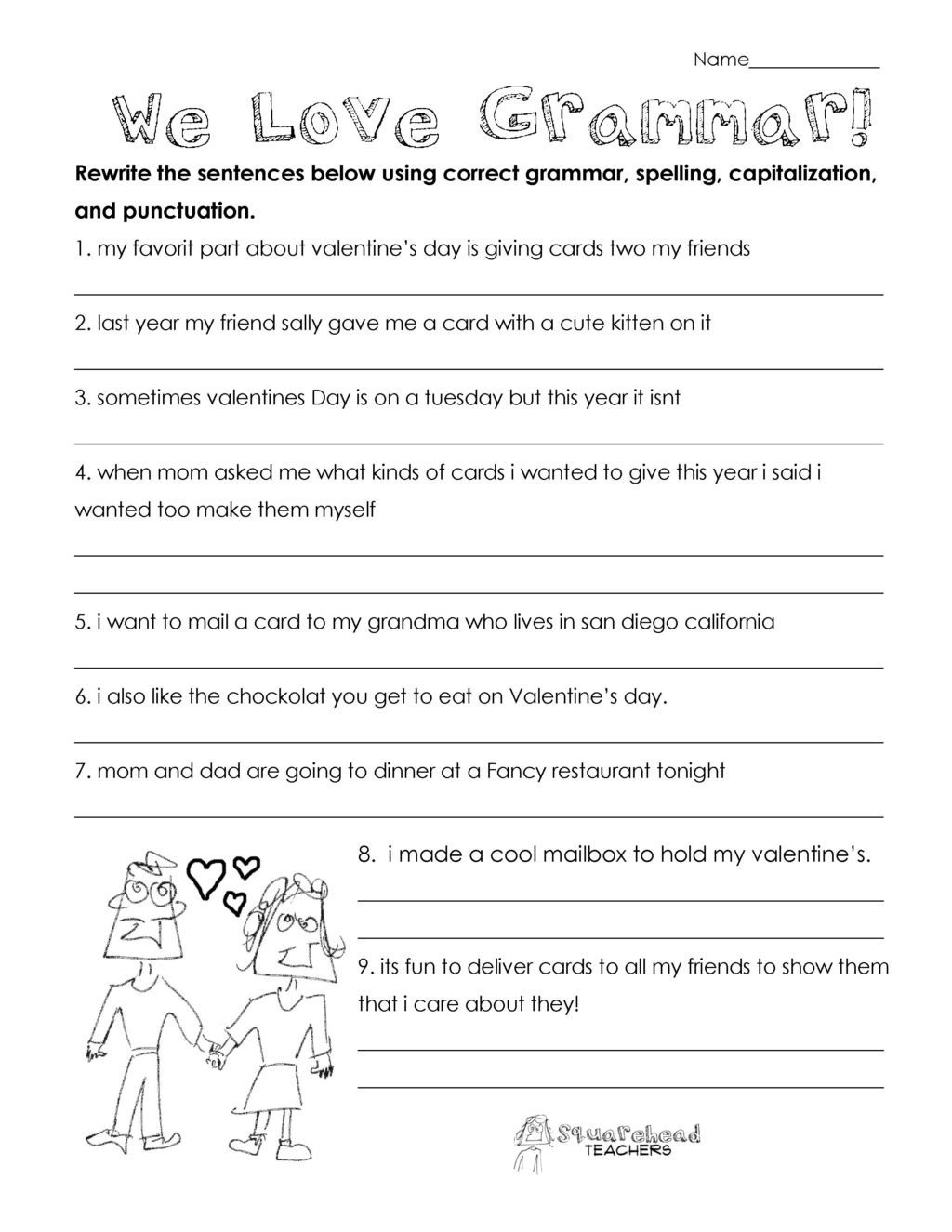 valentines day grammar free worksheet for 3rd grade and up 2