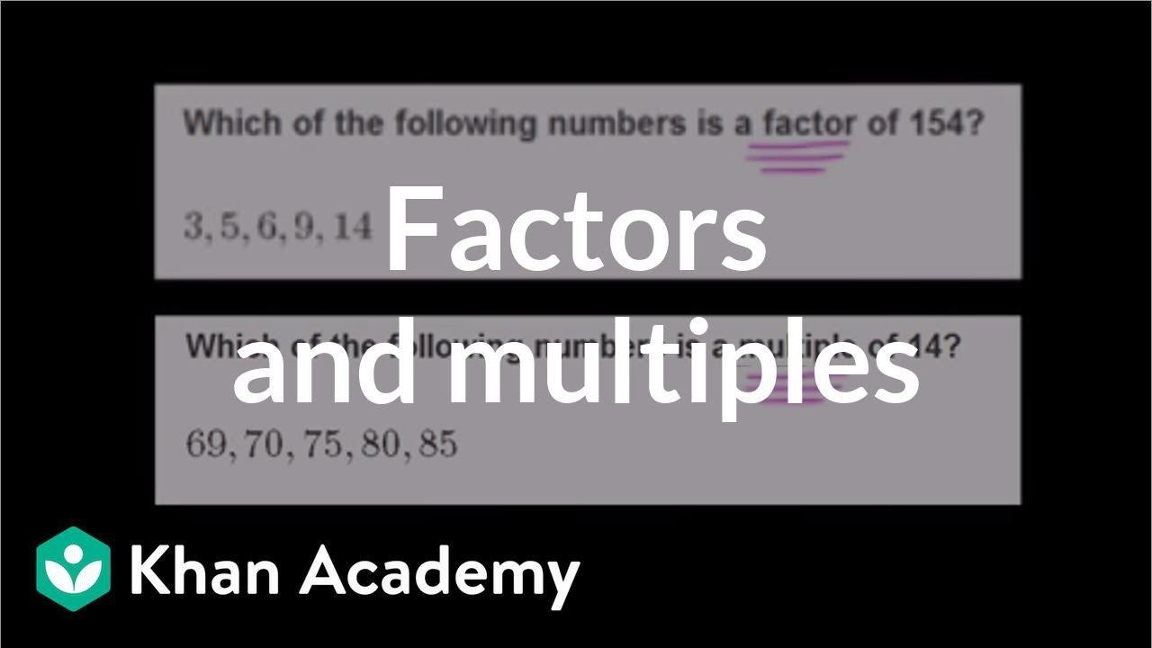 Khan Academy Worksheets Finding Factors and Multiples Video