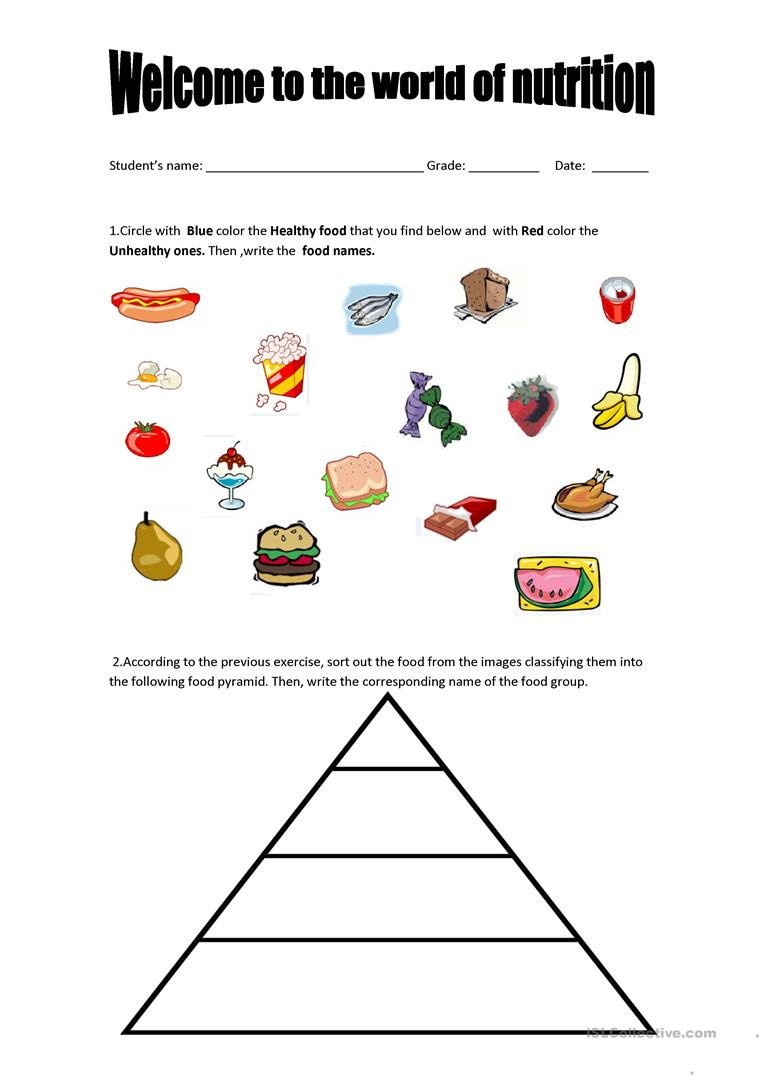 Kindergarten Nutrition Worksheets English Esl Nutrition Worksheets Most Ed 12 Results