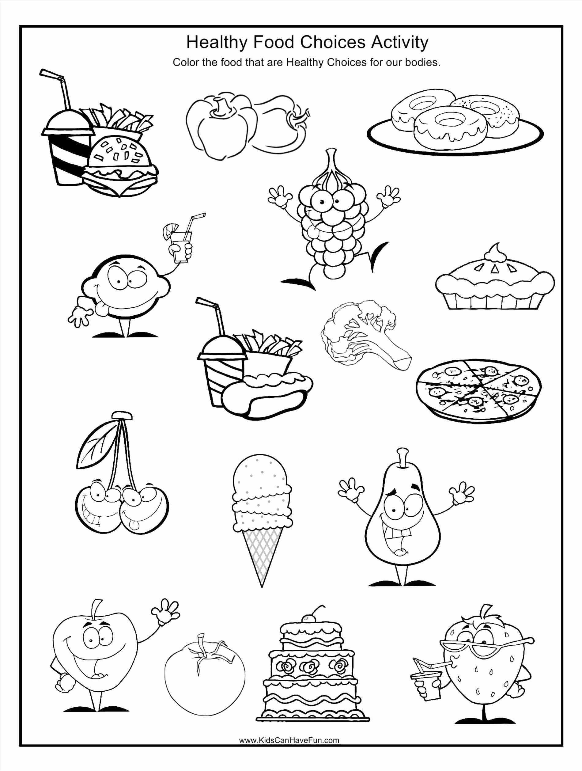 Kindergarten Nutrition Worksheets Fun Coloring Pages for Kids Food In 2020