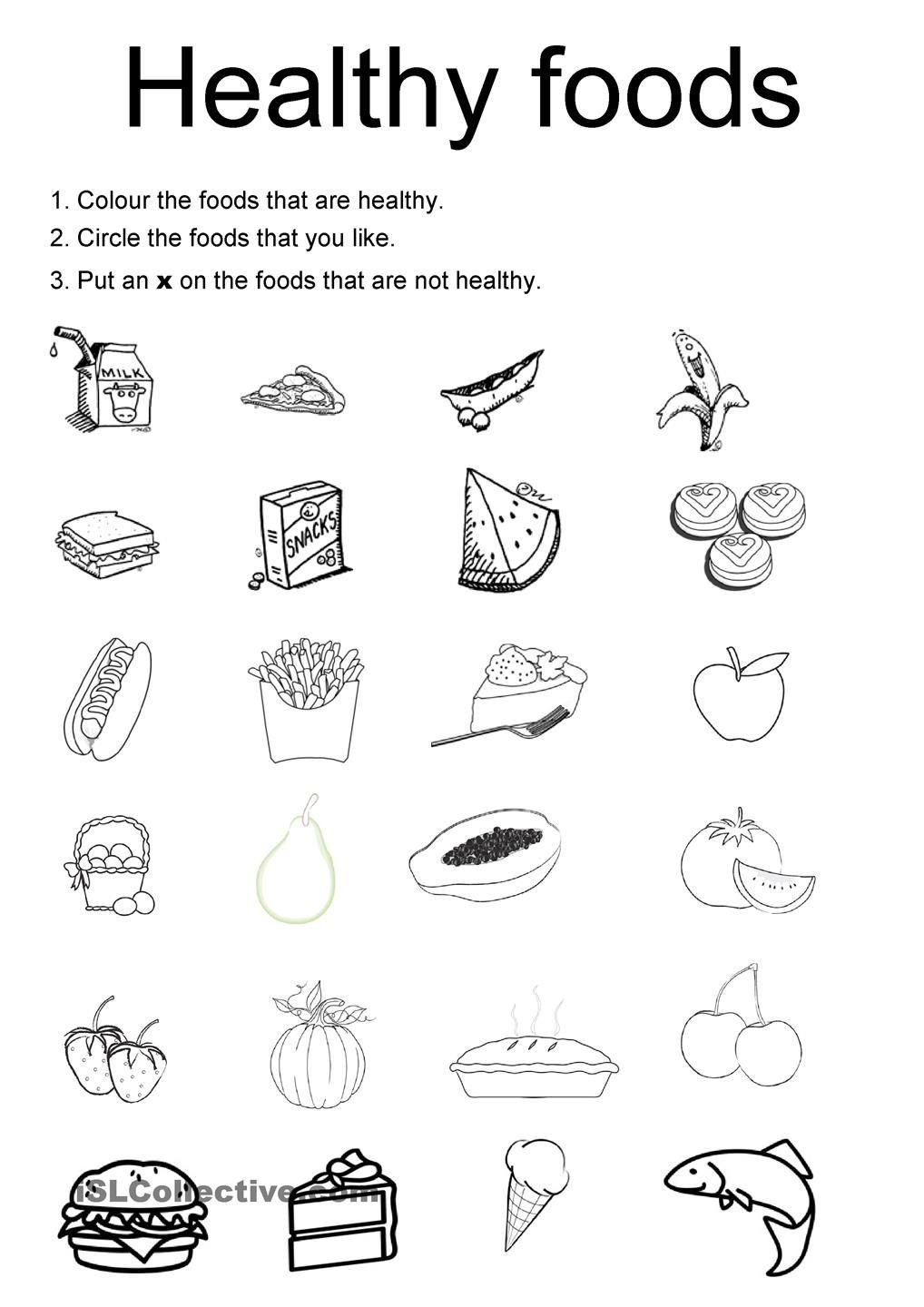 Kindergarten Nutrition Worksheets Healthy Foods