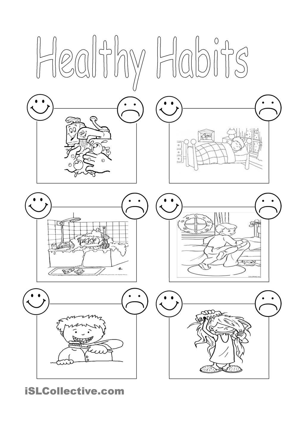 Kindergarten Nutrition Worksheets Healthy Habits