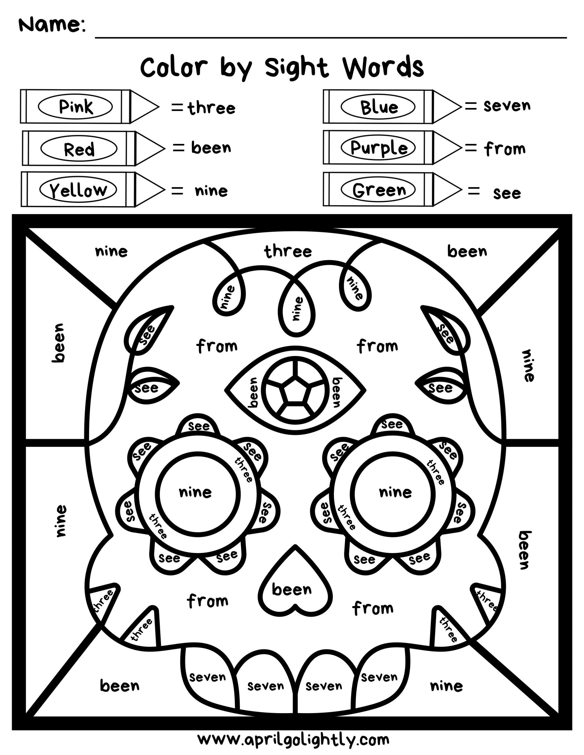 free sight word coloring pages worksheets pdf preschool games for kids to scaled