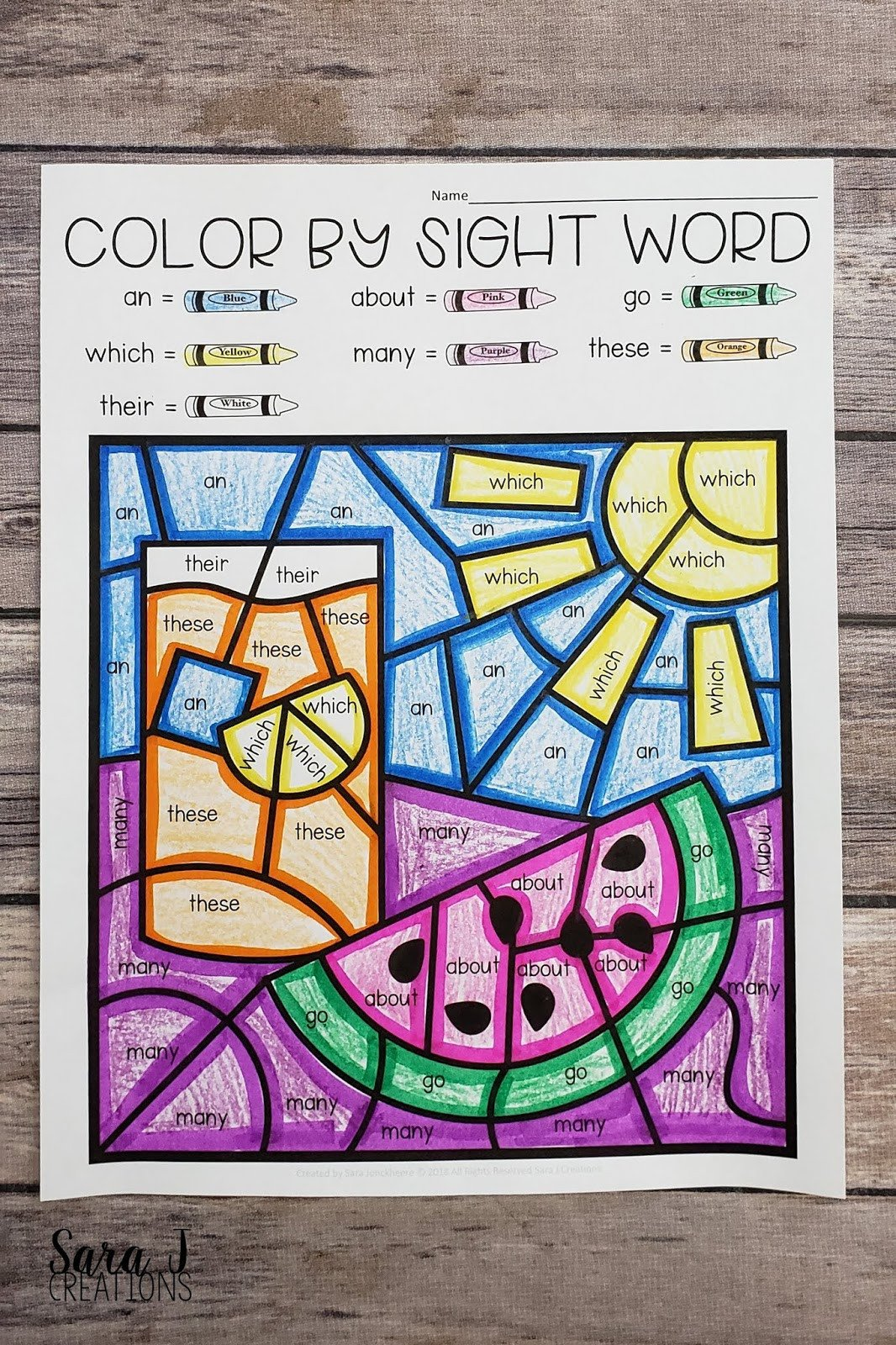 color by sight word summer watermelon JPG