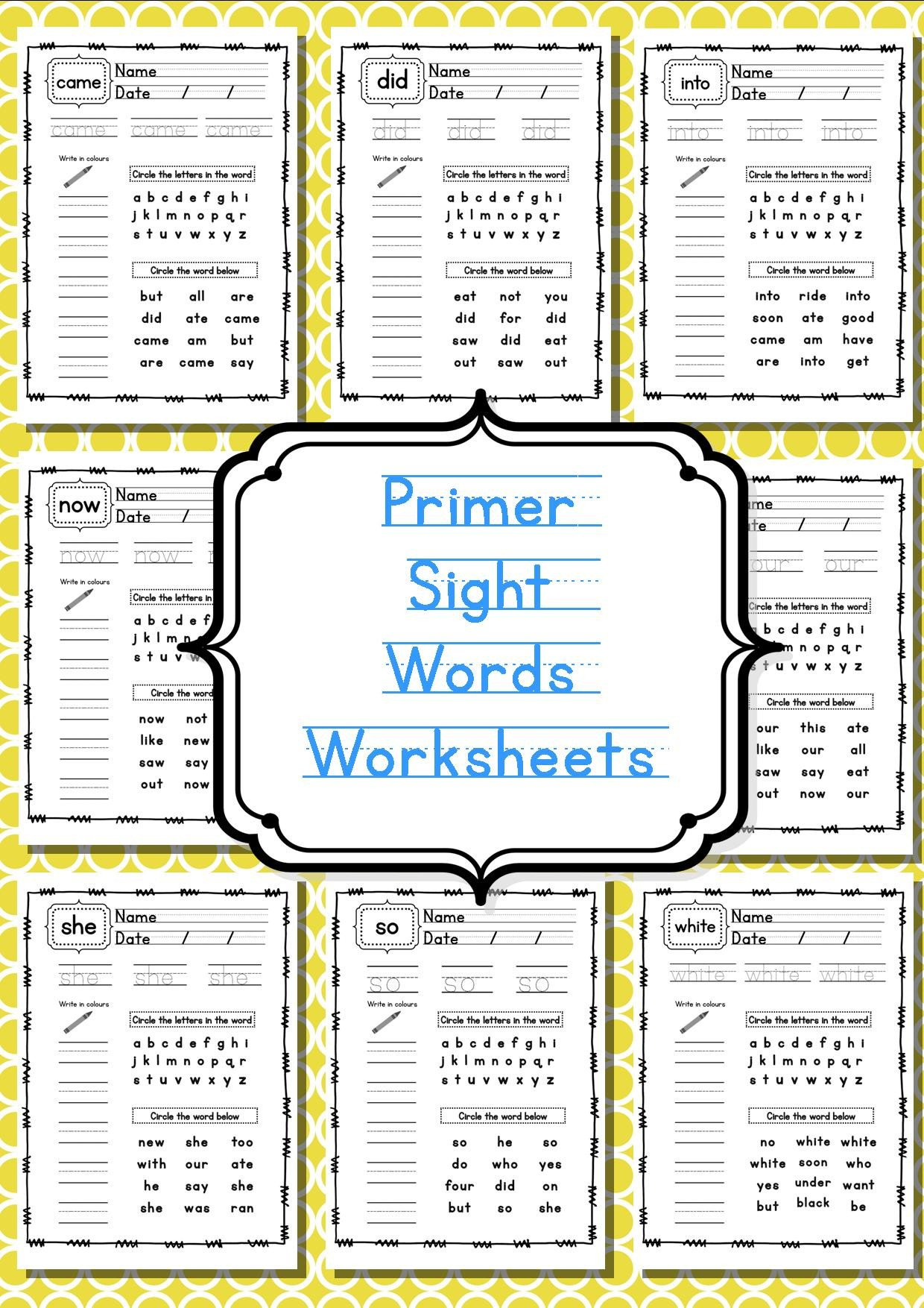 coloring sheet primer sight word worksheets teaching resources blog pages pdf printable template free