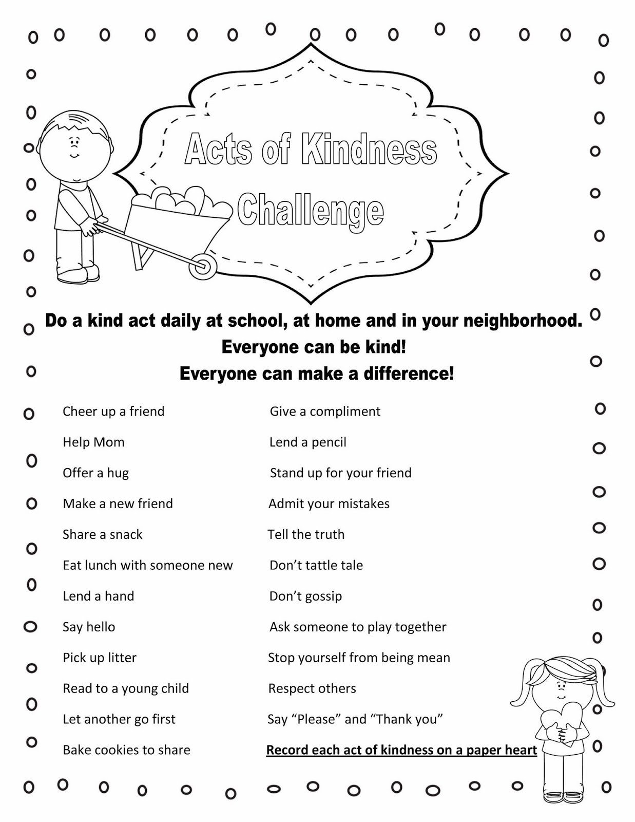 Acts of Kindness handout