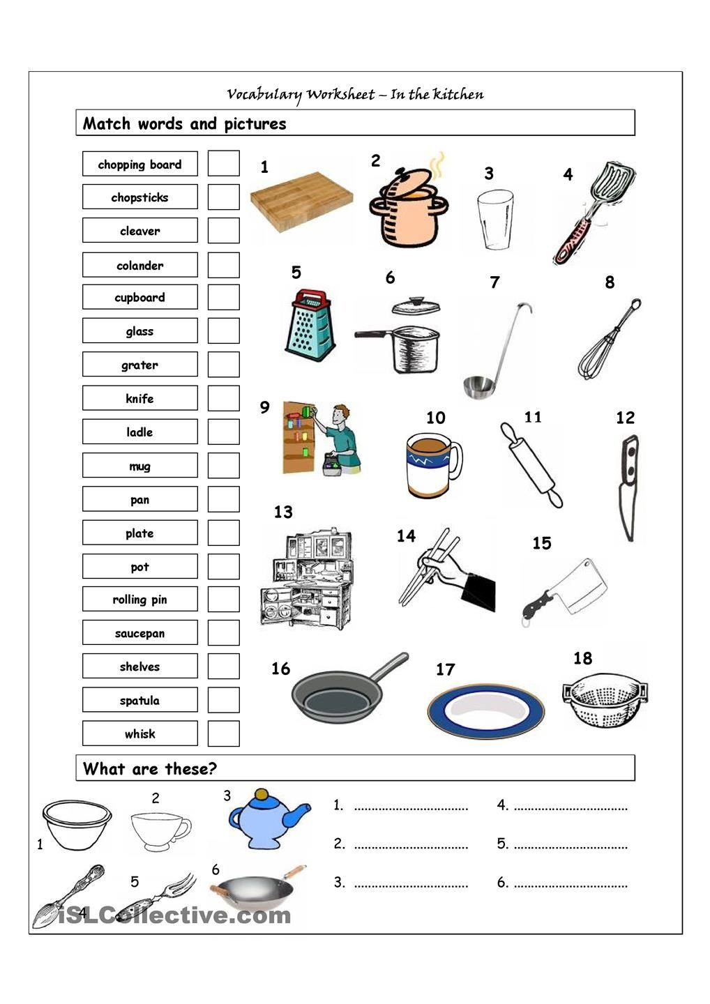 Kitchen Math Worksheets Vocabulary Matching Worksheet In the Kitchen
