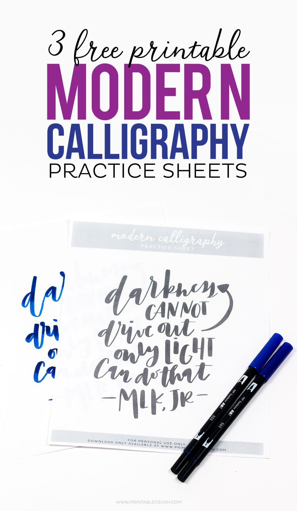 Learn Calligraphy Worksheets 3 Free Printable Modern Calligraphy Practice Sheets