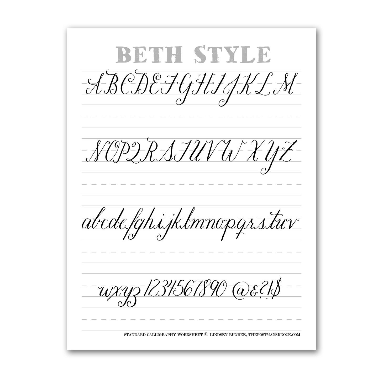 Learn Calligraphy Worksheets Beth Style Calligraphy Standard Worksheet