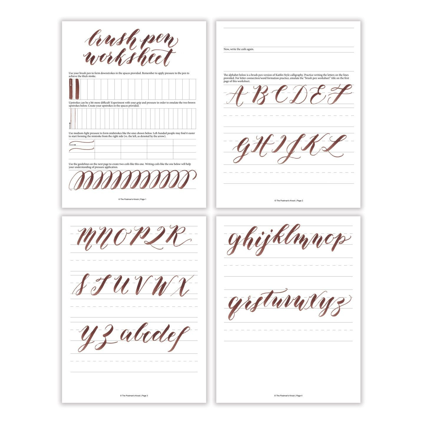 Learn Calligraphy Worksheets Free Basic Brush Pen Calligraphy Worksheet – the Postman S