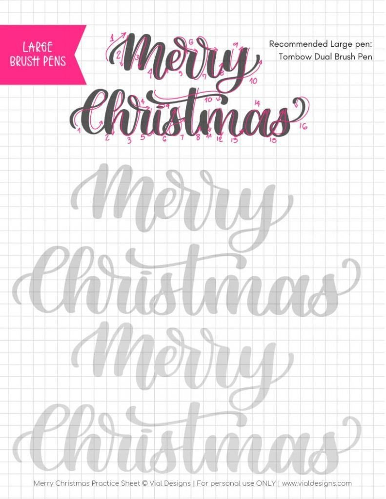 Pens Merry Christmas Free Calligraphy Practice Sheet Vial Designs 791x1024